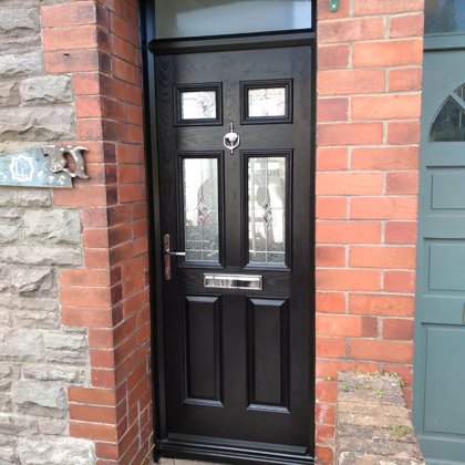 Black Composite Door with Black Frame and Fanlight installed in Abergavenny