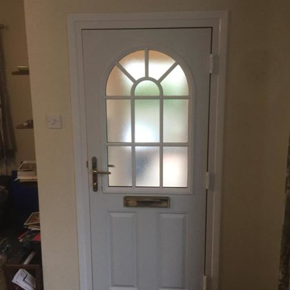 British Racing Green Composite Door with Sunburst Georgian Design installed for Mrs Rees i