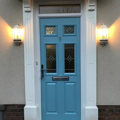 Door-Stop Duck Egg Blue Composite Door installed for the Hobbys' in Llanfoist
