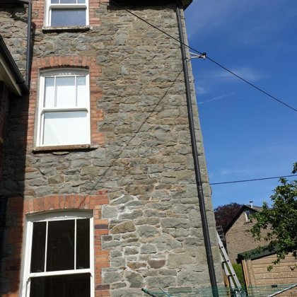 Textured White Iconic Vertical Sliding Sash Windows installed for the Proberts of Builth W