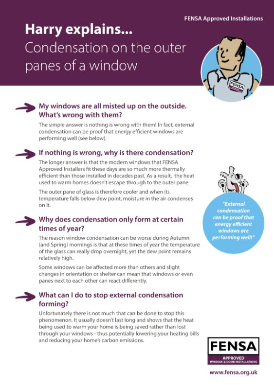 Download the FENSA Harry Explains Condensation on the outer panes of Windows document