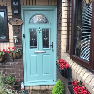 Door-Stop Door in Duck-Egg Blue