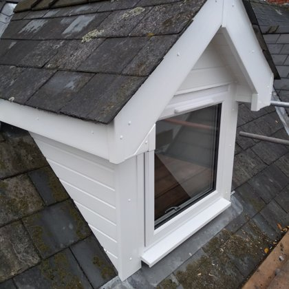 Fascia, Soffit and Cladding Roofline around a dormer window for the Jones of Monmouth