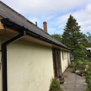 Ms Davis Brecon, Anthracite Grey Roofline Fascias Soffit Guttering Downpipes