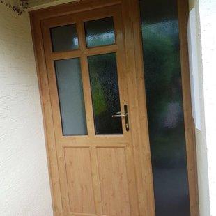 Irish Oak PVCu Door with Side-Screens