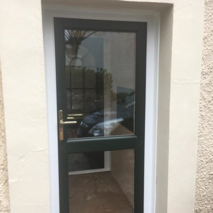 Installed for Mrs Rees, Llangattock - British Racing Green outside, Gloss White Inside, gl