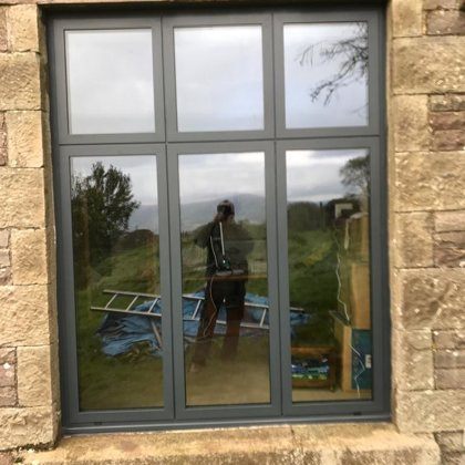 Contemporary Flat Aluminium Windows installed for the Walter - Spencers of Crickhowell in
