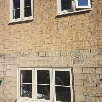 Flush Casement Windows in Agate Grey on Textured Wood White for the Turners of Malmesbury