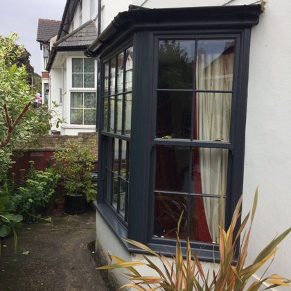Textured Anthracite Grey Iconic Vertical Sliding Sash Windows installed for the Llewellyn'