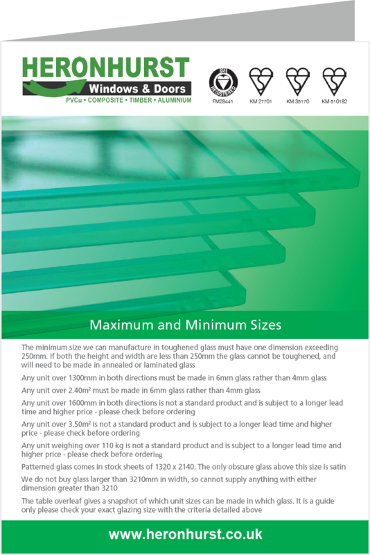 Glass Minimum and Maximum Dimensions Information Leaflet